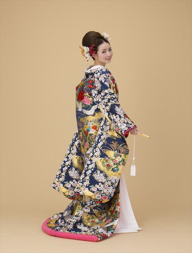 聚宝桜花紋 紺